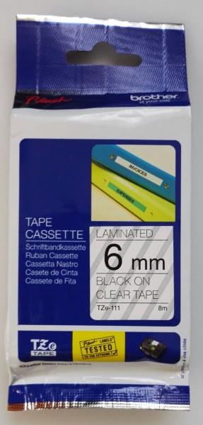 Brother Schriftbbandkassette TZe-111 schwarz auf transparent 6mm